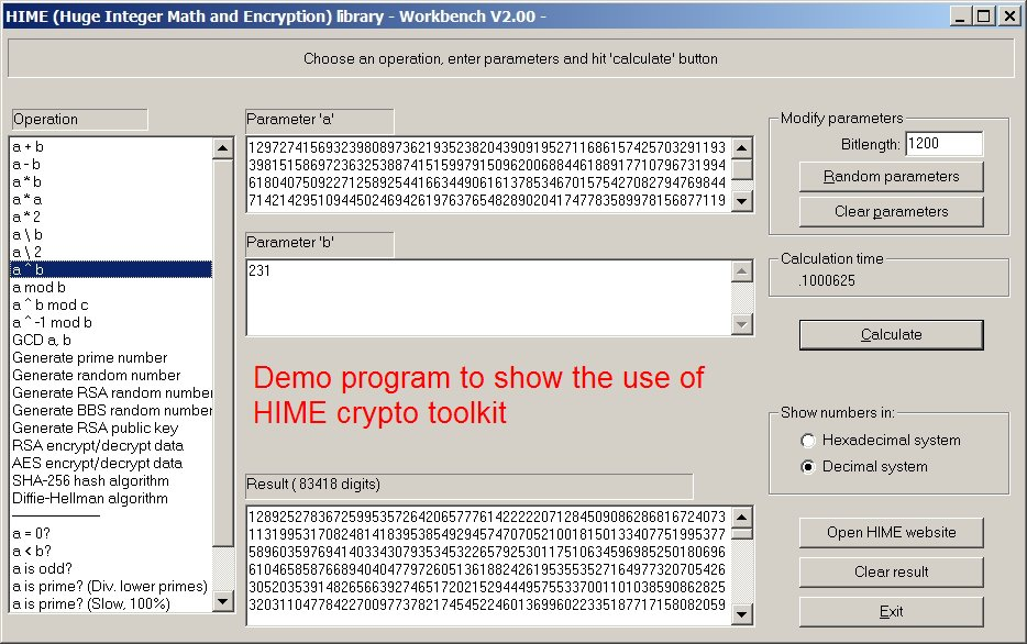 HIME: Huge Integer Math and Encryption 2.05.1